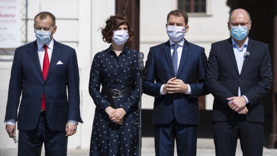 Boris Kollár (Sme rodina), Veronika Remišová (Za ľudí), Igor Matovič (OĽaNO) a Richard Sulík (SaS)