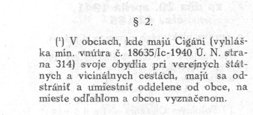 vyhlaska o uprave niektorych pomerov ciganov